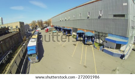 Area for shipment of products from a warehouse in the factory, aerial view - stock photo