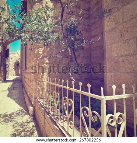 Area Of Old Restored Jerusalem on a Sunny Day, Instagram Effect - stock photo