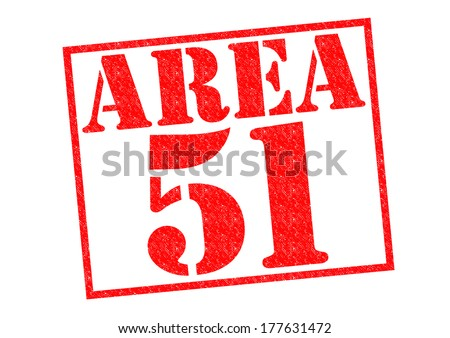 AREA 51 red Rubber Stamp over a white background. - stock photo