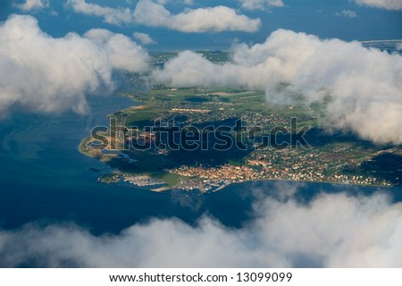 Areal view of Amager, Denmark