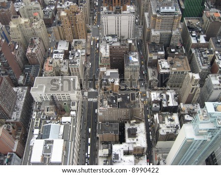 Areal view of New York City.