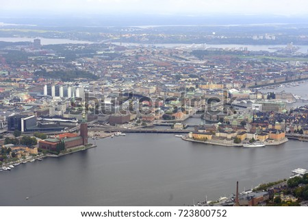 Areal view of Stockholm center