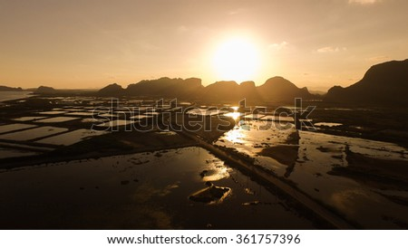 Areial Shoot Swamp area at pranburi sunset before night time , Wetland of Khao Sam Roi Yot National Park,Thailand - stock photo