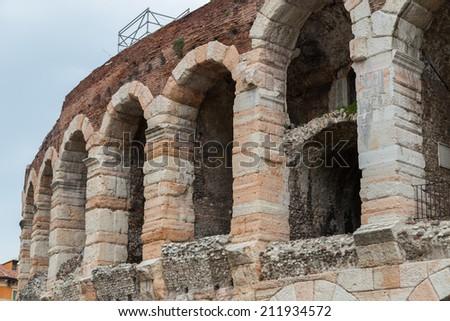 Arena di Verona ancient amphitheater a typical Roman architecture, Italy - stock photo