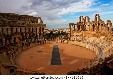 Arena of el Djem - the biggest amphiteater in Africa, Tunisia - stock photo