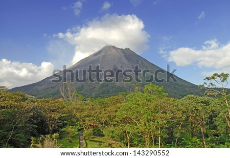 Arenal Volcano Rising up from the Jungle, Costa Rica - stock photo