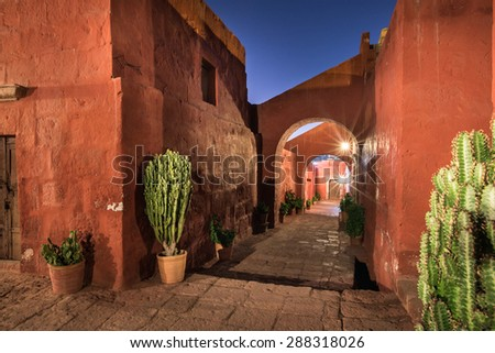 AREQUIPA, PERU - CIRCA 2015: Night view of the Santa Catalina Monastery circa 2015 in Arequipa, Peru.