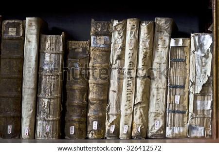 AREQUIPA, PERU, MARCH 9 - Books in the Ricoleta Library on March 9, 2011 in Arequipa, Peru. Ricoleta Library is the oldest library in Peru and Latin America - stock photo