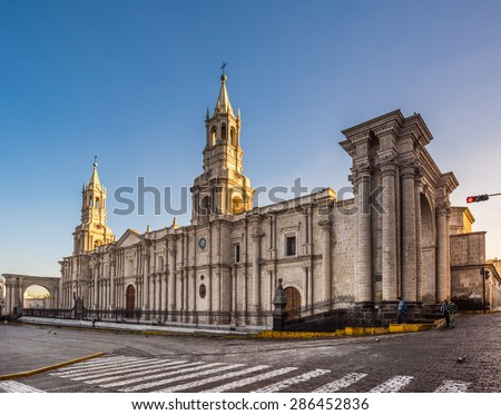 Arequipa, Peru: View of the Cathedral main church at the morning. - stock photo