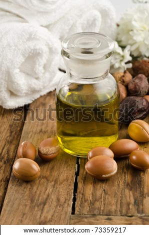Argan oil for body massage and argan fruits - stock photo