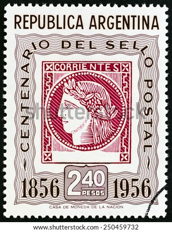 ARGENTINA - CIRCA 1956: A stamp printed in Argentina issued for the Centenary of 1st Argentine Stamps shows Corrientes Stamp of 1856 (Ceres, the Roman goddess of agriculture), circa 1956.  - stock photo