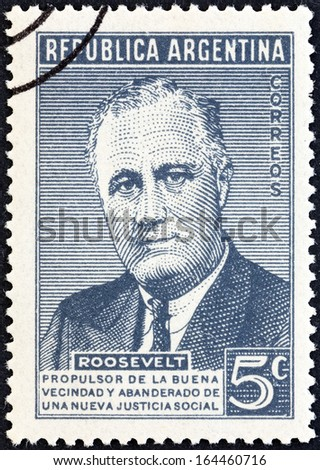 ARGENTINA - CIRCA 1946: A stamp printed in Argentina issued for the death anniversary of President Roosevelt shows USA President Franklin Roosevelt, circa 1946.  - stock photo