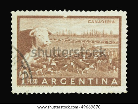 ARGENTINA - CIRCA 1965: A stamp printed in Argentina showing cows circa 1965