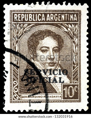 "ARGENTINA - CIRCA 1935: A stamp printed in Argentina shows portrait of Bernardino Rivadavia (First President of Argentina), with the same inscription, from the series ""Famous Argentines"", circa 1935"