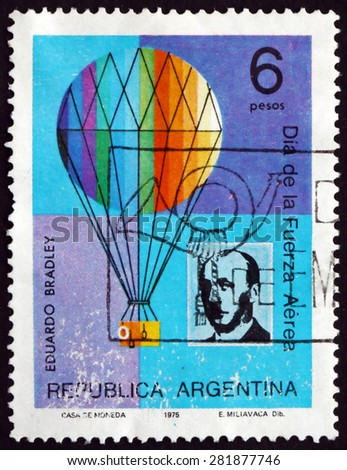 ARGENTINA - CIRCA 1975: a stamp printed in the Argentina shows Eduardo Bradley and Balloon, Argentine Pilot and Balloonist, circa 1975 - stock photo
