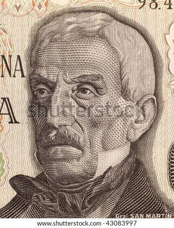 ARGENTINA - CIRCA 1976: Jose de San Martin on 50 Pesos 1976 Banknote from Argentina. General and prime leader of the south part of South America's successful struggle for independence against Spain.