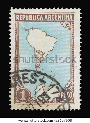 ARGENTINA - CIRCA 1950s: A stamp printed in Argentina showing map of Argentina, circa 1950s