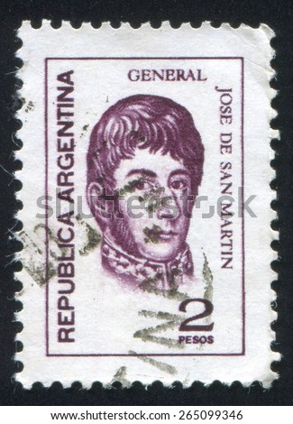 ARGENTINA - CIRCA 1975: stamp printed by Argentina, shows General Jose de San Martin, circa 1975