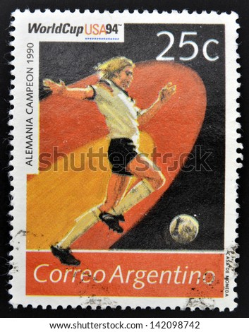 ARGENTINA - CIRCA 1994: Stamp printed in Argentina dedicated to the football world cup USA 1994, shows the world champion Germany, 1990, circa 1994 - stock photo