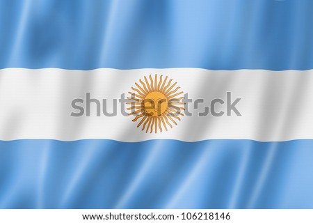 Argentina flag, three dimensional render, satin texture - stock photo