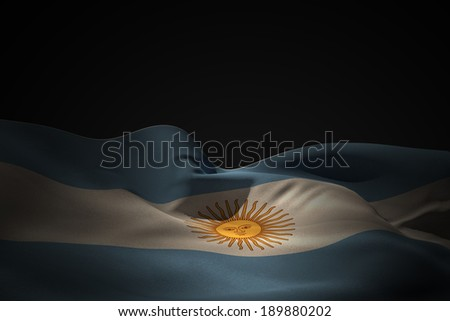Argentina flag waving against black shadow - stock photo