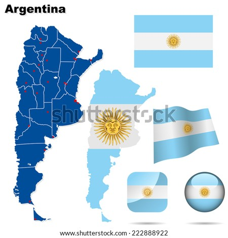 Argentina set. Detailed country shape with region borders, flags and icons isolated on white background. - stock photo