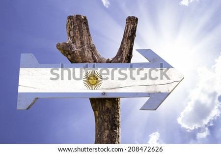 Argentina wooden sign on a beautiful day - stock photo