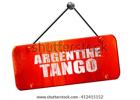 Argentine tango, 3D rendering, vintage old red sign - stock photo