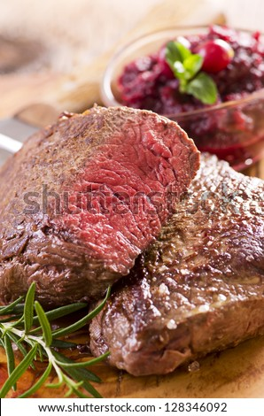 argentinian beef steaks - stock photo