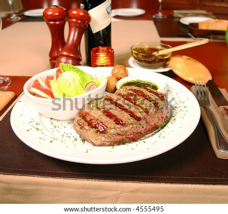Argentinian cut meat called bife de chorizo - stock photo