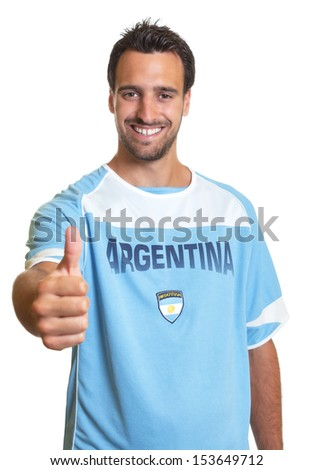 Argentinian soccer fan showing thumb up