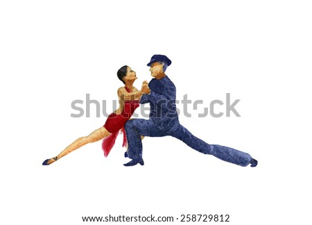 argentinian tango, watercolor illustration, isolated couple - stock photo