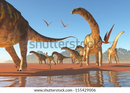 Argentinosaurus Herd - Two Deinocherius move along with a herd of Agentinosaurus dinosaurs eating any insects and small animals that are stirred up. - stock photo