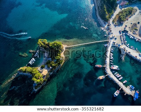 Arial view of Marina with boats on the bay of Zakynthos, Greece - stock photo