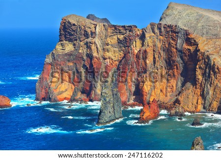 Arid eastern tip of the island of Madeira. Atlantic storms. Colorful pinnacles lit sunset - stock photo