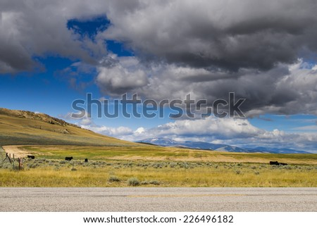 Arid Montana Ranch-land in the summer time - stock photo