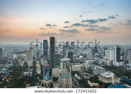 Ariel view of downtown Bangkok from roof top - stock photo
