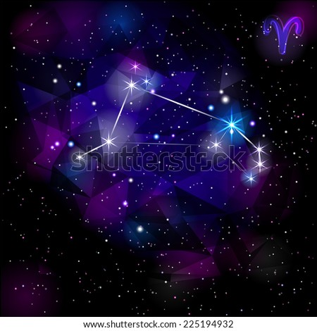 Aries Constellation With Triangular Background.  True star and nebulosity positions. Raster version.  - stock photo