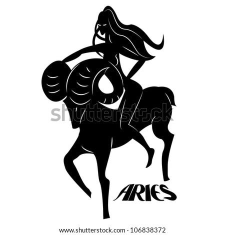 Aries/Elegant zodiac signs silhouettes isolated on white - stock photo