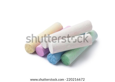 arious colors of chalks on white background - stock photo