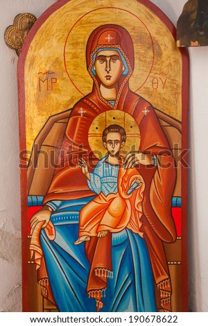 ARISTINO VILLAGE, GREECE - APRIL 30: The Virgin Mary and Jesus Christ as a child, a Byzantine iconography in the interior of village church, on April 30, 2014 in Aristino Village, Greece