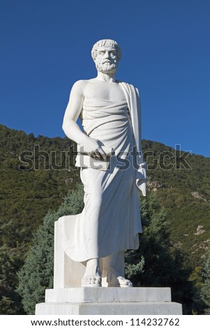 Aristotle statue located at Stageira of Greece (birthplace of the philosopher) - stock photo