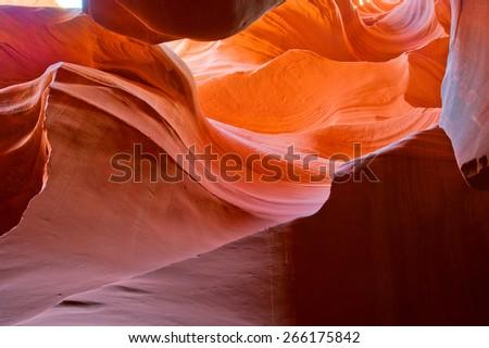 Arizona Antelope Canyon on Navajo land near Page USA - stock photo