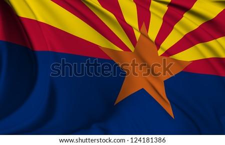 Arizona flag - USA state flags collection no_3 - stock photo