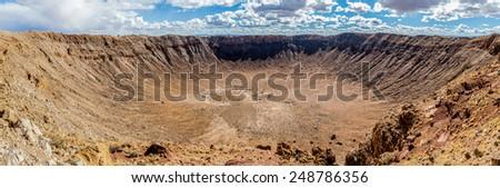 Arizona Meteor Crater, panoramic view - stock photo
