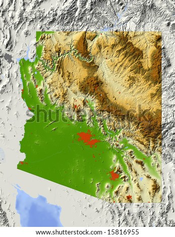 Arizona. Shaded relief map, with major urban areas and rivers, surrounding territory greyed out. Colored according to elevation. Clipping path for the state area included. Data source: NASA - stock photo