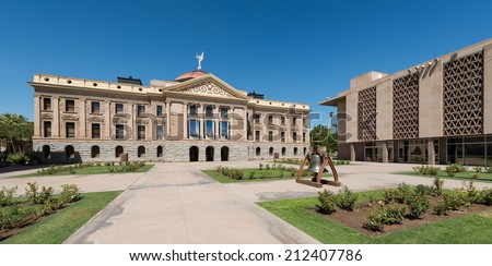Arizona State Capitol building (left) and House of Representatives (right) in Phoenix, Arizona - stock photo