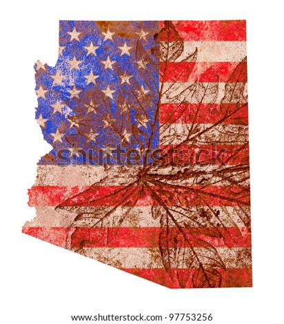 Arizona state of the United States of America in grunge flag pattern isolated on white background - stock photo