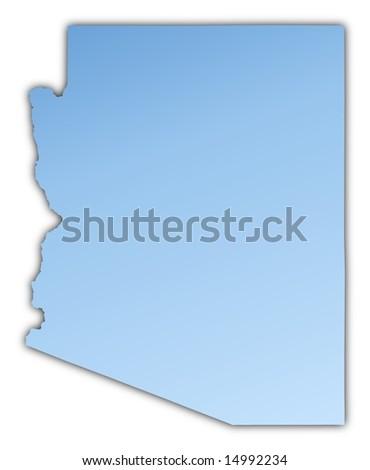 Arizona Usa Map Light Blue Map With Shadow High Resolution Mercator Projection