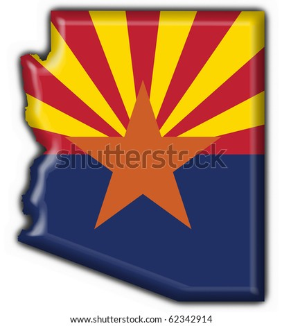 Arizona (USA State) button flag map shape - 3d made - stock photo